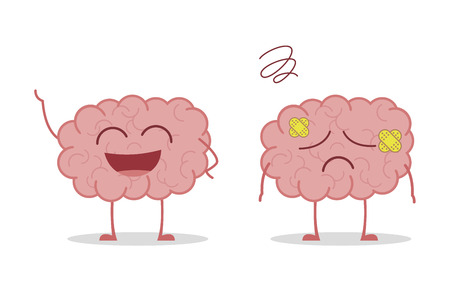 Illustration pour Healthy and sick brain isolated on white background vector illustration - image libre de droit