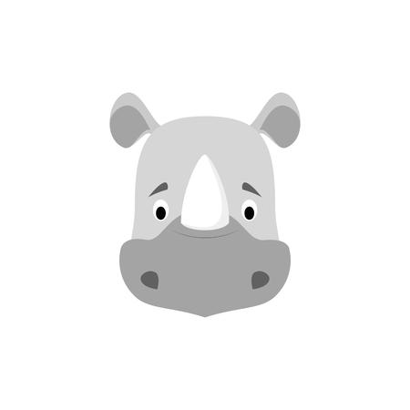 Ilustración de Rhino face in cartoon style for children. Animal Faces Vector illustration Series - Imagen libre de derechos