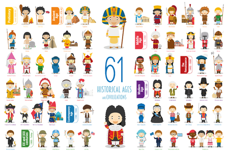 Illustration pour Kids Vector Characters Collection: Set of 61 Historical Ages and Civilizations in cartoon style. - image libre de droit