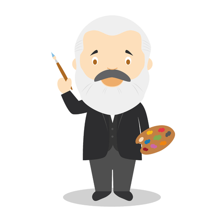 Illustration pour Claude Monet cartoon character. Vector Illustration. Kids History Collection. - image libre de droit
