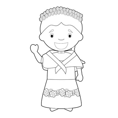 Illustration pour Easy coloring cartoon character from Philippines dressed in the traditional way Vector Illustration. - image libre de droit