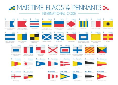 Illustration for Maritime Flags and pennants International Code Vector Illustration - Royalty Free Image