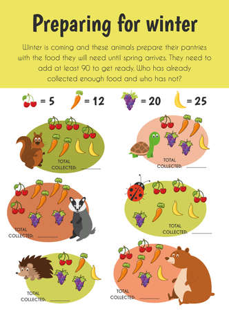 Illustration pour Preparing winter Educational Sheet. Primary module for Numerical Ability. 5-6 years old. Educational Sheets Series - image libre de droit