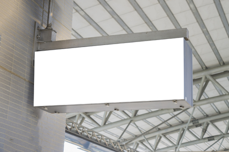 Hanging roullups for advertising ,Empty blank billboard at train station,blank billboard - advertising public commercial,ready for new advertisement,selective focus