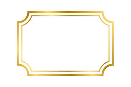 Illustration for Gold shiny glowing vintage rectangle frame with shadows isolated on white background. Gold realistic rectangle border for decoration, photo, banner. Vector illustration. Vector illustration - Royalty Free Image