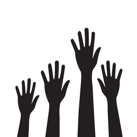 Illustration for People hands raised vector for graphic design, logo, web site, social media, mobile app, ui illustration - Royalty Free Image