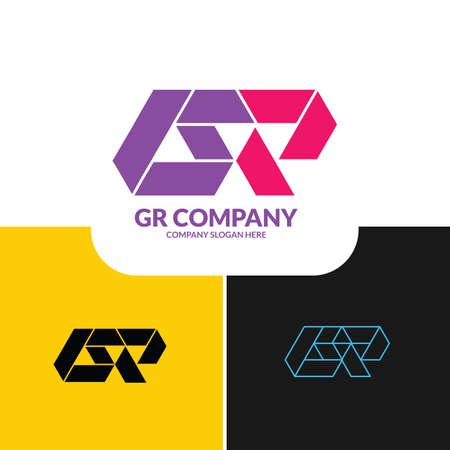 GR or letter logo. Unique attractive creative modern initial GR, R G, G R initial based letter icon logo