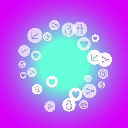 Illustration for Social media marketing, Communication networking concept. Random icons social media services tags on color background. Comment, friend, like, share, target, message. Vector Internet concept. - Royalty Free Image