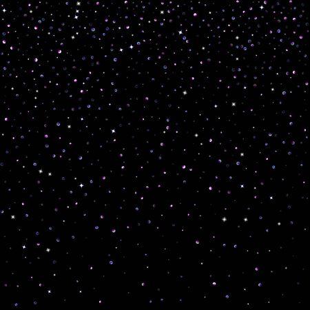 Illustration pour Purple glitter elements, stars shiny confetti. Scattered little, sparkling, flashing ultra violet, Random tiny stellar falling on black background. New Year, Christmas background. Vector illustration. - image libre de droit