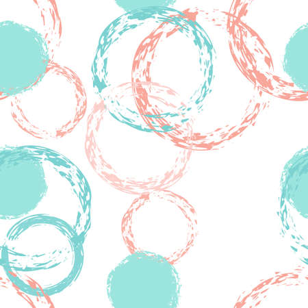 Illustration pour Black Brush Circle. Vector Seamless Pattern. Multicolor Ornament. White Abstract Background With Watercolor Fall Chaotic Shapes. Simple Soft Packaging. Chalk Brush Rounds, Confetti. - image libre de droit
