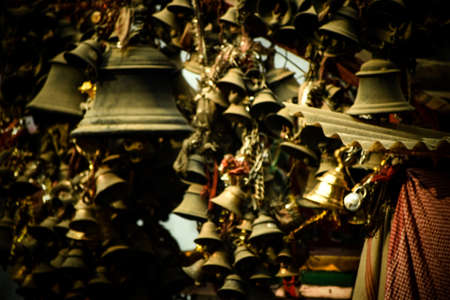 Photo pour Aesthetic interior exterior fengshui with brass bell . - image libre de droit