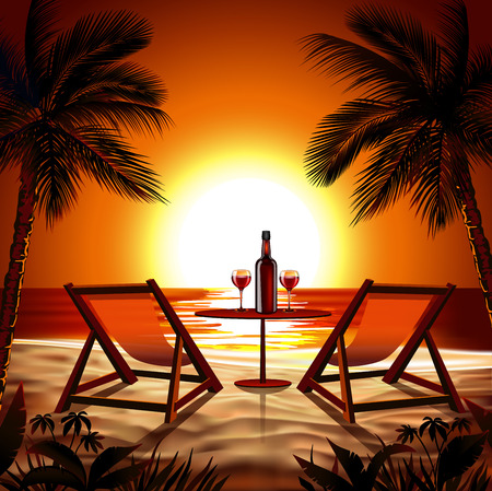 Illustration for Beach at Sunset - Royalty Free Image