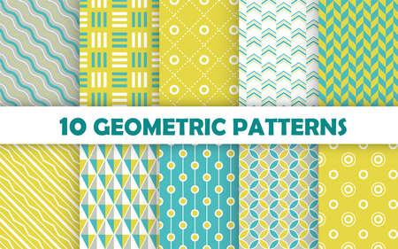 Illustration for Set of geometric seamless pattern. - Royalty Free Image
