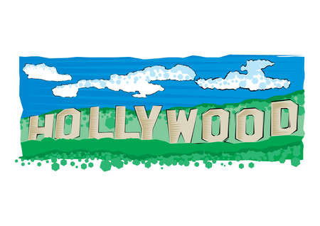 Illustration pour Vector illustration of Hollywood sign in Los Angeles. Flat style illustration. - image libre de droit