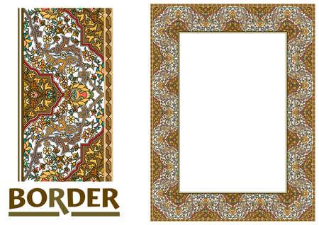 Illustration pour arabesque Borders - Tiled frame in plant leaves and flowers Framework Decorative Elegant ornamental style - image libre de droit