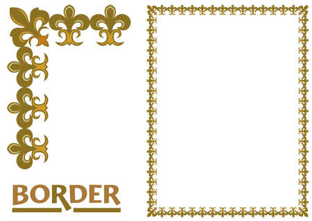 Illustration pour decoration Borders - Tiled frame in plant leaves and flowers Framework Decorative Elegant ornamental style - image libre de droit