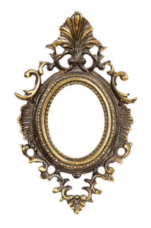 Ornamented, very old, gold plated empty picture frame for putting your pictures in. Isolated on white background.