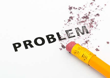 Erasing problem with a rubber eraser concept.