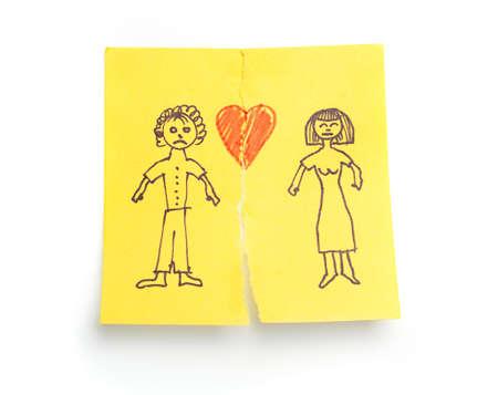 Photo pour Concept sketched 'Divorce' on sticky note paper  - image libre de droit