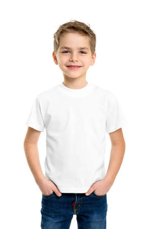 Photo pour White T-shirt on a cute boy, isolated on white background - image libre de droit