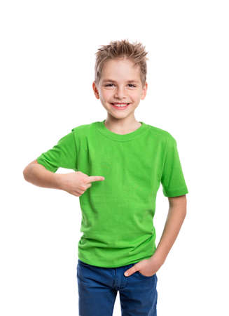 Photo pour T-shirt on young man in front and behind isolated on white background - image libre de droit