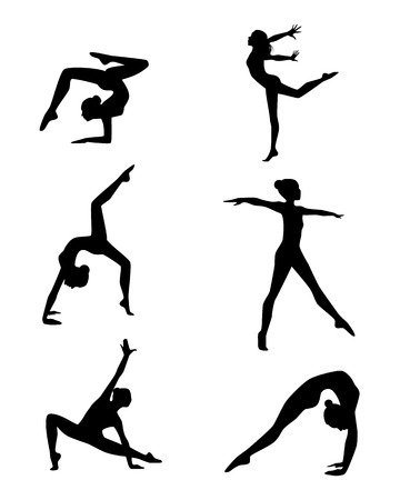 Vector illustration of a six gymnasts silhouettes set