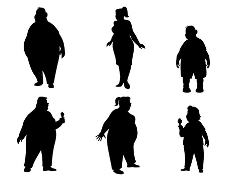illustration of a six fat people silhouettes