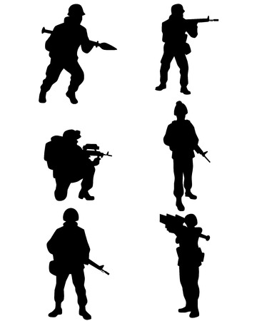 illustration of a six soldiers set