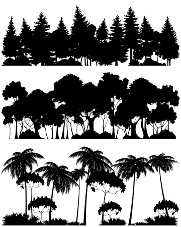 Illustration for Vector illustration of a three forests silhouettes - Royalty Free Image