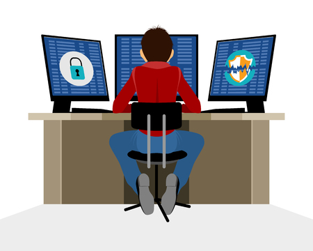 Vector illustration of a information security expert