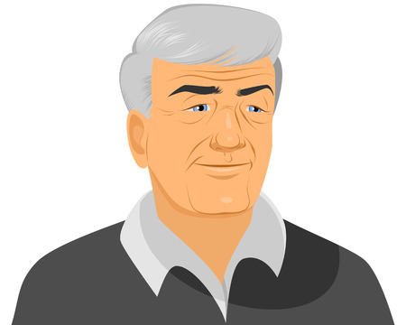 Ilustración de Vector illustration of a smiling old man - Imagen libre de derechos