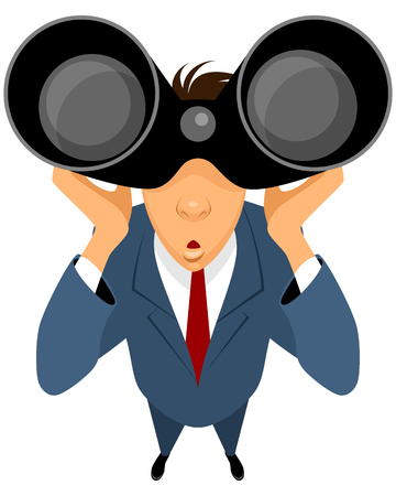 Vector illustration of a businessman looking through binoculars