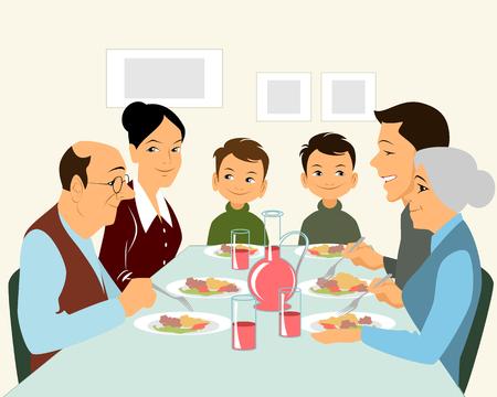 Illustration pour illustration of a big family eating - image libre de droit