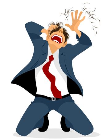 Vector illustration of a businessman tearing hair