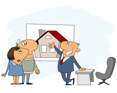 Vektor für Vector illustration of a real estate agent - Lizenzfreies Bild