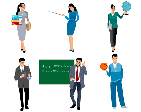 Photo pour Vector illustration of six teachers on a white background - image libre de droit