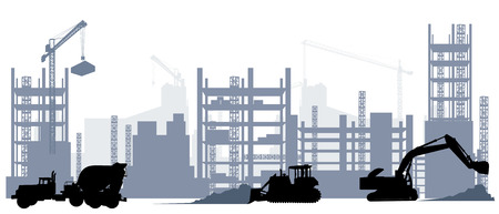 Ilustración de Vector illustration of silhouette of construction and machine equipment - Imagen libre de derechos