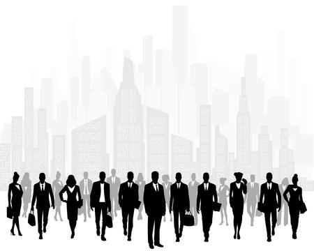 Illustration pour Vector illustration of group of businessmen on background of city - image libre de droit