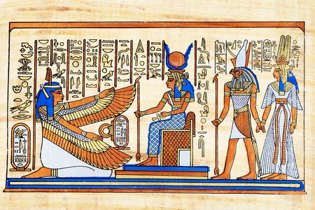 Isis and winged Maat together with Horus and Nefertari.