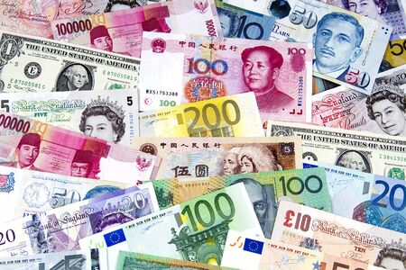 A collection of various currencies from countries around the world.