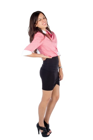 Young woman with back pain, isolated on white background.