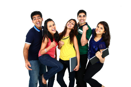 Photo pour Happy smiling portrait of Young Indian/Asian group of people looking at camera, smiling and celebrating. Isolated on white background. - image libre de droit
