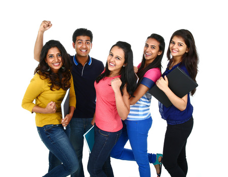 Happy smiling portrait of Young Indian/Asian group of people looking at camera, smiling and celebrating. Isolated on white background.