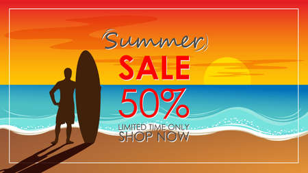 Illustration pour Silhouette of surf man stand with a surfboard with text summer sale for mall or store promotion and marketing. Surfing at sunset beach. Outdoor water sport adventure lifestyle.Summer activity. - image libre de droit