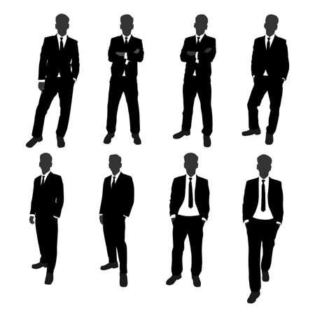 Illustration pour vector set of stand businessman silhouette full body. businessman with different posing action - image libre de droit