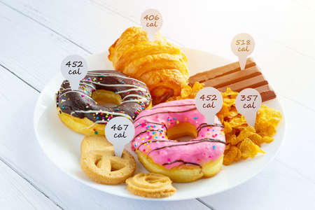 Photo for Calories counting and food control concept. doughnut ,croissant ,chocolate and cookies with label of quantity of calories for Calories measuring - Royalty Free Image
