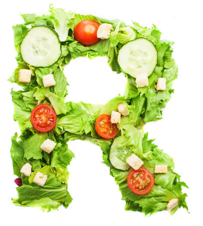 R letter made with salad isolated on white