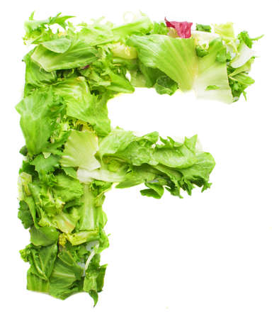 f lettuce letter on a white background