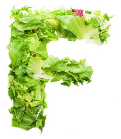 f lettuce letter on a white background