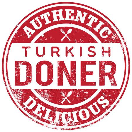 Illustration pour turkish doner kebab stamp - image libre de droit